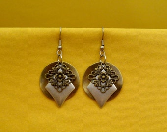 Gold and Silver in 3D Earrings (Style #339S)
