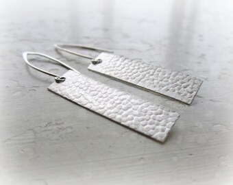 Textured Earrings, Sterling Tab Earrings, Metalwork Jewelry, Silver Drop Earrings, Dangle Earrings, Rectangle Earrings, Lightweight Earrings