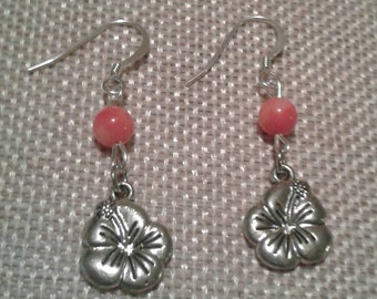 Pink Coral and Hibiscus Flower Charm Drop Earrings