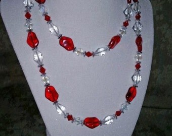 Red & White Crystal Necklace