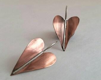 Copper sterling silver soldered heart earrings