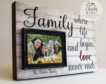 Family Where Life Begins And Love Never Ends Frame, Family Picture Frame, Wedding Gift Idea, Personalized Picture Frame