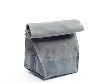 Waxed Canvas and Leather Lunch Bag - Grey On Grey