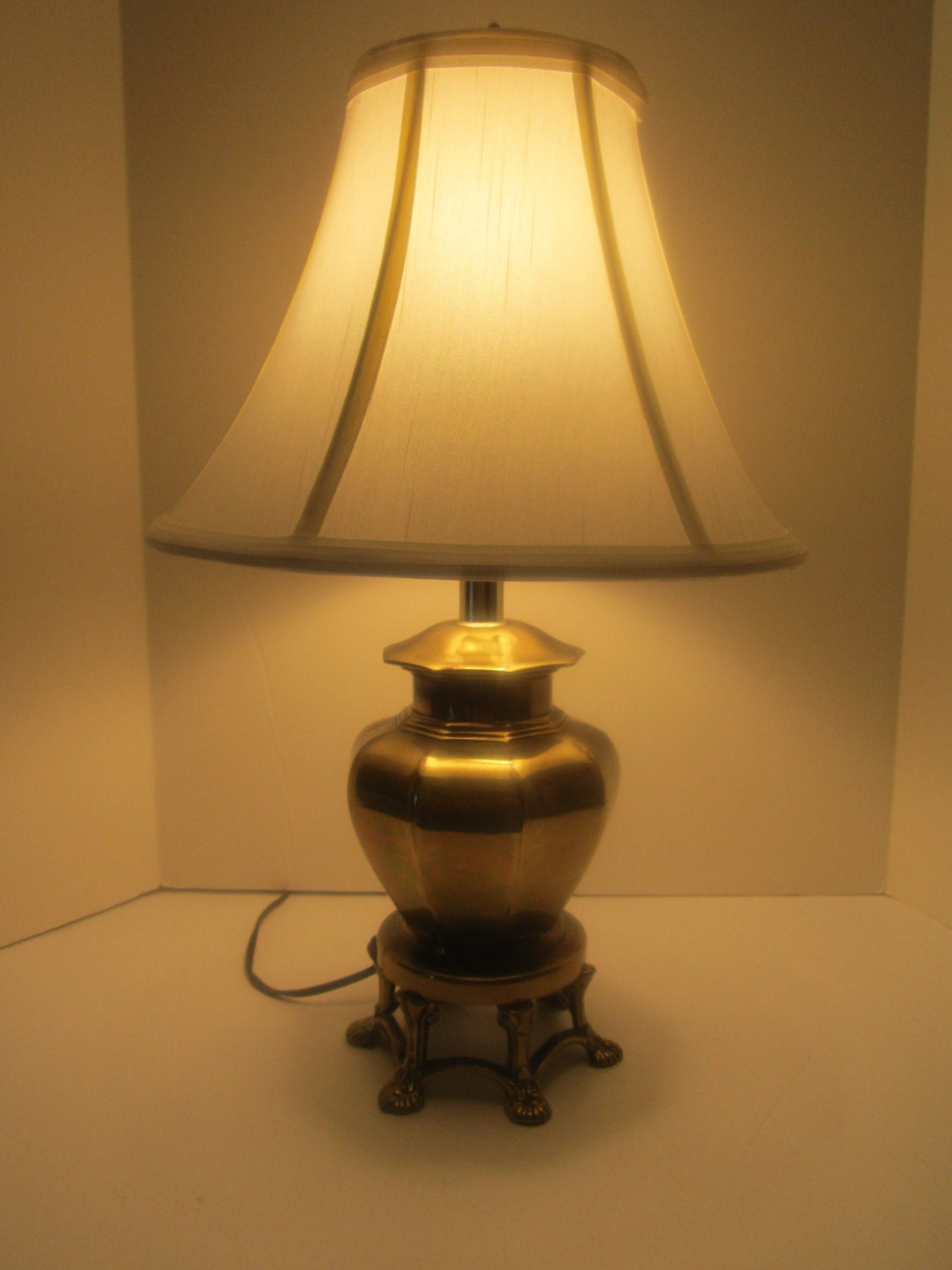 Ginger Jar Lamp Asian Style Solid Brass Footed Lamp