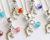 Dolphin Silver Necklace 10 Charm Party Favor  Mixed Colors Necklaces, Crystal balls Necklace, Dolphin Party, Under the Sea Favors, Children