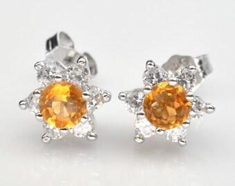 Handmade Natural Gemstone Jewelry, Genuine Yellow Citrine Sterling Silver Earring FD5C0518 ER-CIT044