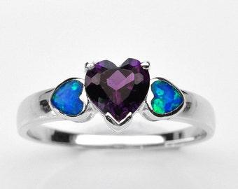 Handmade Natural Gemstone Jewelry, Genuine Purple Amethyst Sterling Silver Ring  FD5A0089 RIS9-PAM261