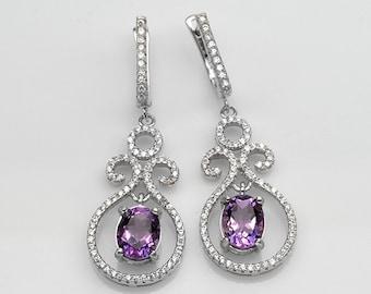 Handmade Natural Gemstone Jewelry, Genuine Purple Amethyst Sterling Silver Earring  FD5C0418 ER-PAM302