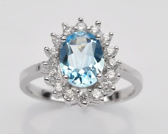 Handmade Natural Gemstone Jewelry, Genuine Sky Blue Topaz Sterling Silver Ring  FD5C0529-RIS7-SBT114