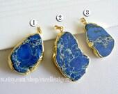 Emperor Jasper slice pendant, 24kt,Gold Plated Edge Jasper slice Pendant in blue color, gemstone Pendant  jewelry making JSP- 3967