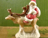 Bisque Santa Claus and Reindeer, Snowbaby Putz, Germany, Antique Christmas Figure, Converged Commodities epsteam vestiesteam