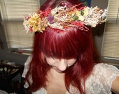 VTG DRIED FLOWER HAiR WReaTH lasts for years wrapped in green satin small ribbons PREmade OOAk
