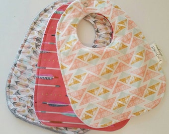 Baby Bib - Baby Drool Bib - Baby Bib Gift Set - Girl Bib Set - Coral Baby Bib - Tribal Baby Bib - Baby Shower Gift