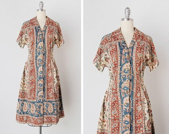 vintage 1950s dress / 1950s paisley dress / 1950s bohemian dress / Sarasvati dress