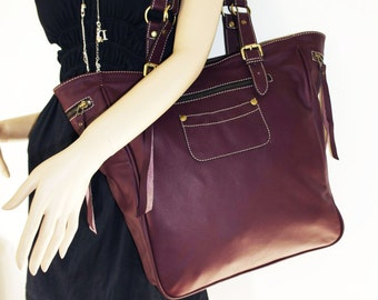 Genuine Leather tote bag leather handbag leather shopper tote Alissa in aubergine