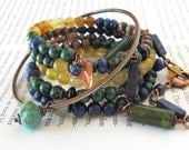 Vincent van Gogh jewelry art lover gift for art lover gemstone beaded wrap memory wire bracelet set art inspired jewelry memory wire jewelry
