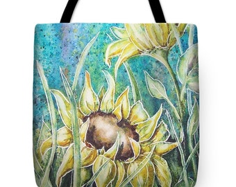 Tote Bag with Summer Sunflowers Watercolor Painting- Wearable Art Gifts Floral Flower Yellow Sun Bright Colors Carryall Bag