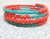Coral and Turquoise Memory Wire Bracelet, Turquoise and Coral Beaded Memory Wire Bracelet