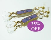 NOW 25% OFF Vintage Guilloche Enamel, Swarovski Crystal and Gold Earrings