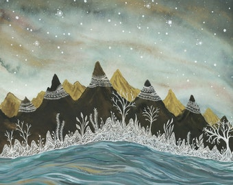 Limited Edition Print-Ice forest & Aurora borealis 8 1/2 by 11 inches