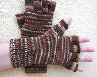 Caffe Mocha: HAND Knit Half Finger Gloves in 100% SOFT Peruvian Wool