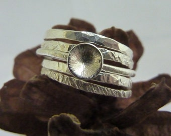 Textured stacking rings (set of 5) with featured dome ring: Handmade, sterling silver