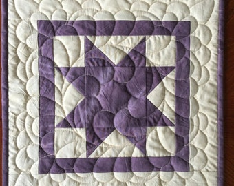 Star Quilt - Machine Quilted - Purple Cream Star - Patchwork Quilt - Ready to Ship - Table Topper - Wall Hanging - Home Decor - Traditional