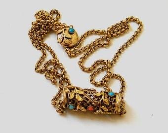 Vintage Sandor goldtone double chain necklace