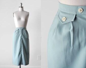 1980's light blue skirt. 80's xs skirt. wool. white buttons. pockets. 80 long skirt. small. powder blue.