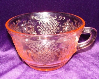 NORMANDIE Pink Depression Glass Cup aka BOUQUET and LATTICE