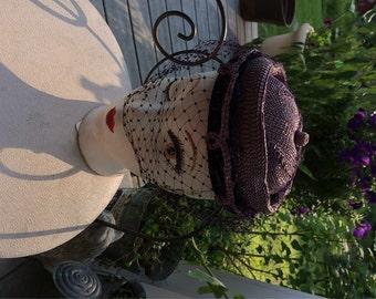 50's Straw Hat  Purple Straw Day Hat / Veiled Hat  Wm Silverman label New York G. Fox & Co.