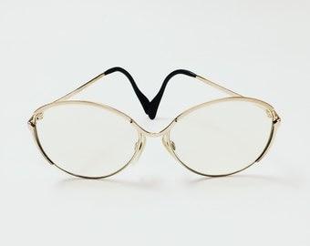 Vtg ATRIO Large Semi CatEye Gold-Tone Metal Eyeglass Frames Womens Designer Fashion Eyewear