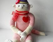 sale, red heel sock monkey, sock monkey doll, pink monkey, toy monkey, plush monkey, sock toy, sock animal