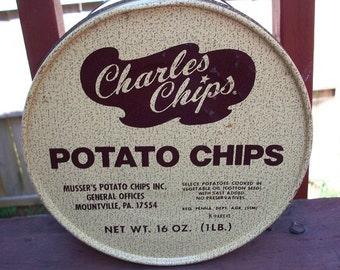 Vintage Charles Chips Potato Chips Tin