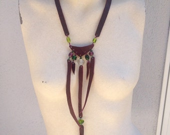 Purple Plum Leather Green Glass Bead Necklace Jewelry
