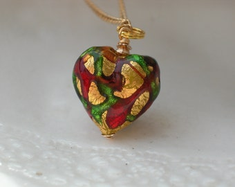 Glass Heart Necklace -Murano Glass