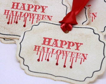 Halloween Gift Tags (Double Layered) - Happy Halloween Gift Tags - Vintage Inspired Handmade Halloween Tags (Set of 8)