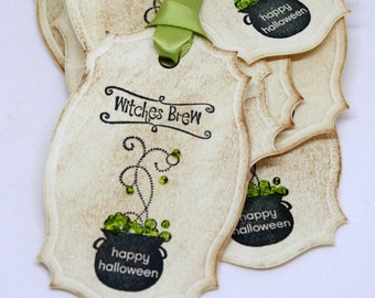 Halloween Gift Tags (Double Layered) - Witch's Brew - Cauldron Gift Tags  - Vintage Inspired Handmade Halloween Tags (Set of 8)