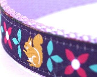 Purple Squirrel Dog Collar, Adjustable Dog Collar, Ribbon Dog Collar