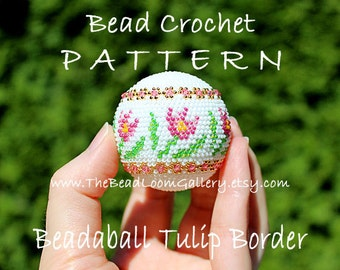 Beadaball Tulip Border - Crochet PDF File TUTORIAL - Beadaball Vol.28 with Swarovski Crystals