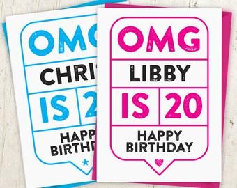 OMG 20th Birthday Speech Bubble Card