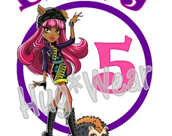 Custom Personalized Monster High Birthday Shirt + Tutu Outfit (any age or character)