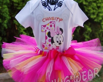 Custom Birthday Baby Minnie Mouse Face Shirt + Tutu Outfit Pinks and yellow (any age)