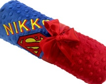 Superman Inspired Personalized Blanket, Personalized Baby Blanket, Red and Blue Blanket Lovey Size