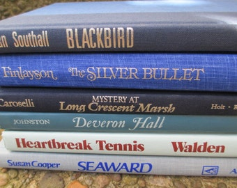 Book Collection BLUE DECOR  - 6 Vintage Books Instant Library Home Decor Photography Props