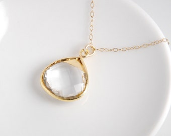 Quartz stone necklace, hydrothermal quartz, vemeil bezel, 14K gold filled chain, everyday dainty necklace