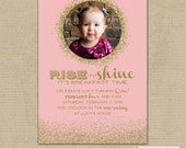 Printable PINK GOLD GLITTER Birthday Party Invitation -- Digital File -- 24 hour or less turnaround