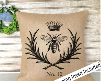 French Vintage Bee Pillow | French Rustic Decor | Burlap Pillow | French Country | Insert Included * FREE SHIPPING *