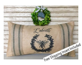 French Country Decor | Rustic French Decor -  Bee Burlap Pillow - L'abeille - Insert Included