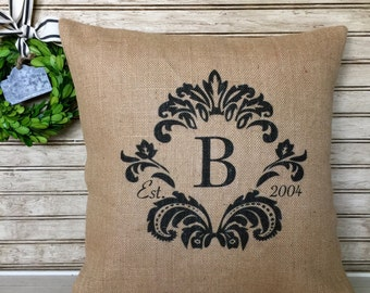 Damask - Monogrammed burlap pillow with est. date - Insert Included - FREE SHIPPING
